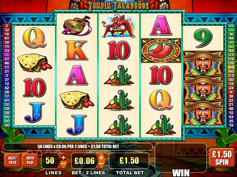 Nov 08, · In free online Jumpin Jalapenos slot game you may need to fight with the rampaging bulls – however, there is no bull in the game's staking system.Just choose to play 2 to 50 play lines on any spin, and then apply your chosen line-bet between coins and 5 coins/5().